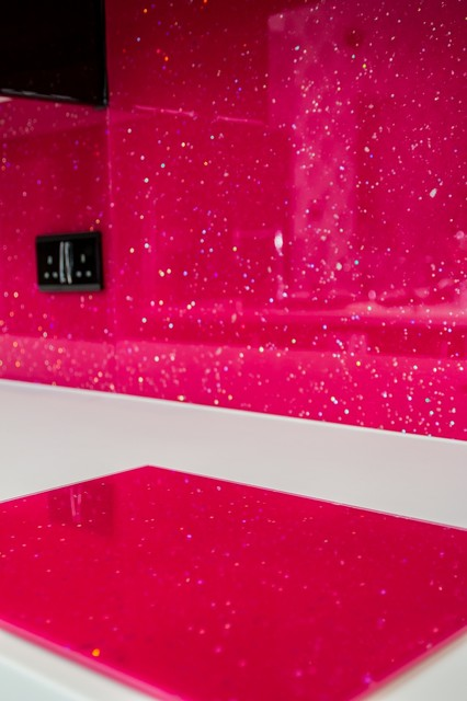 Quot Pink Candy Quot Glitter Glass Kitchen Splashback