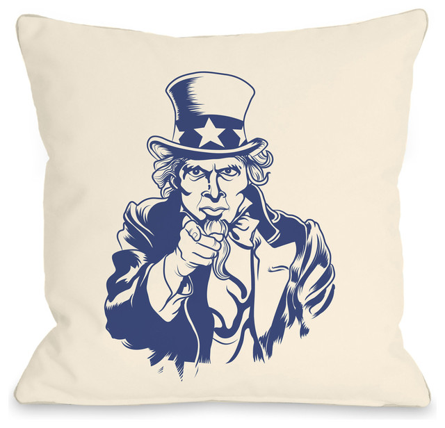 "Contemporary Decorative Pillows: ""Uncle Sam"" Indoor Throw Pillow By OneBellaCasa"