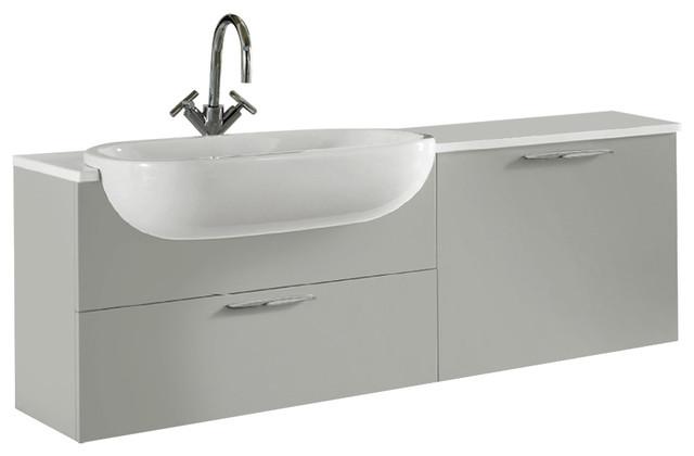 Today Vanity, Quartz Countertop And Ceramic Washbasin, Glossy Pearl Gray.