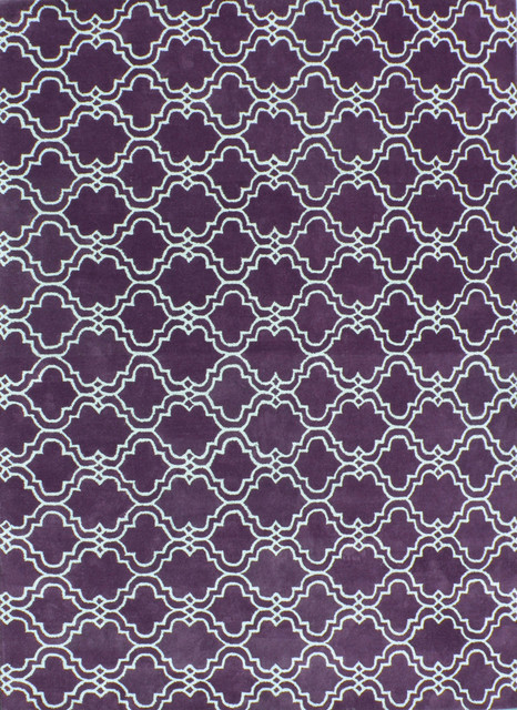 Moroccan Scroll Tile Purple Handmade Persian Style Wool Area Rug 3 X 5