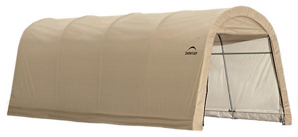 Autoshelter Round Top Instant Garage, Sandstone, 10x20x8&x27;.