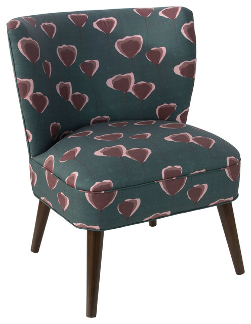 Curved Armless Chair In Poppy Turquoise Midcentury Armchairs And Accent  Chairs