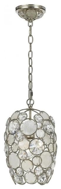 Crystorama Palla 1 Light Antique Silver Mini Chandelier