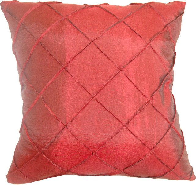 Tamara Quilted Down Feather Filler Pillow, Red, 20