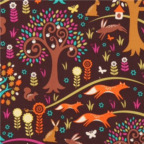 brown forest animal fabric Michael Miller Foxtrot fox rabbit