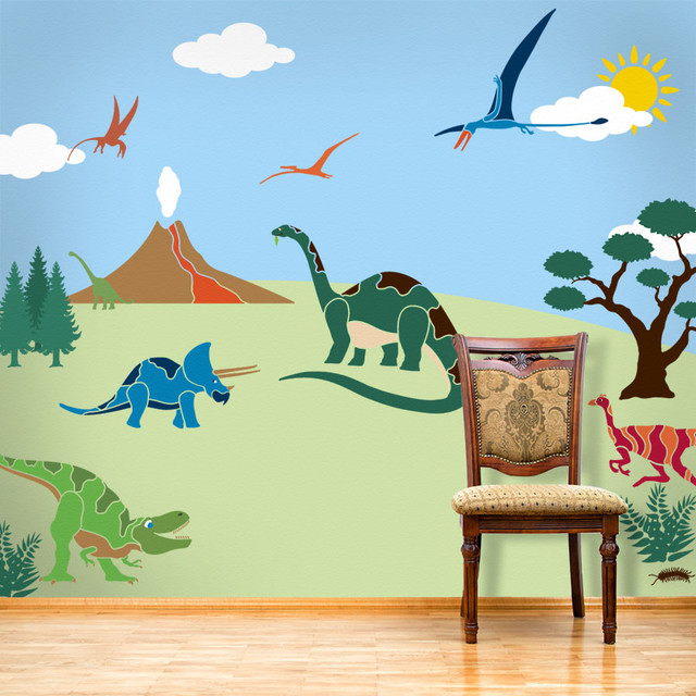 Wonderful Dinosaur Days Wall Mural Stencil Kit For Painting Contemporary Wall Stencils Ideas