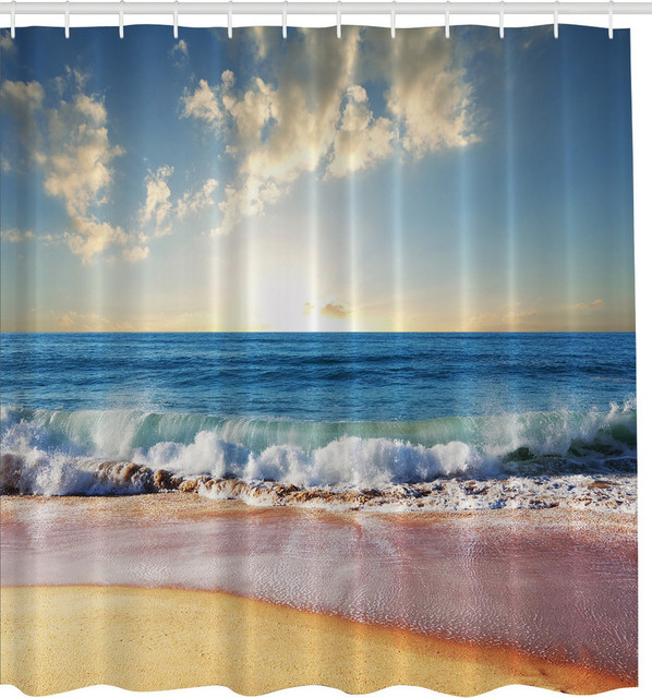 blue ocean big sky pink sand beach fabric shower curtain