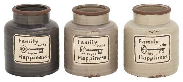 Ceramic Family Jars 3 Piece Set Farmhouse Kitchen Canisters And Jars b