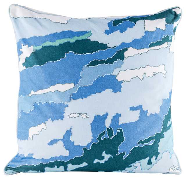 Goose Down Throw Pillows : Dimond Home Blue Topography Pillow with Goose Down Insert - Contemporary - Decorative Pillows ...