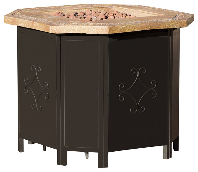 Myrtle Outdoor Inch Octagonal Liquid Propane Fire Pit W Lava - Octagon propane fire pit table