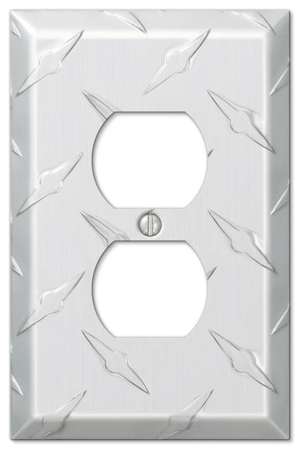 diamond plate aluminum 1duplex wall plate