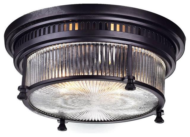 Vintage Oil Rubbed Bronze Metal Glass Ceiling Light Fixture