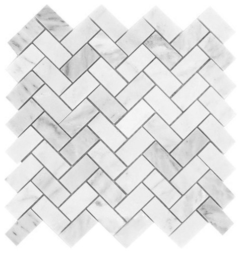 Carrara White Marble Polished Herringbone Mosaic Tile Sample