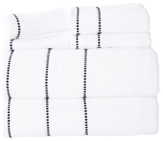 Lavish Home Quick Dry 100% Cotton Zero Twist 6 Piece Towel Set, White.