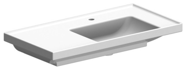 Rectangular White Ceramic Self Rimming or Wall Mounted Bathroom Sink, One Hole