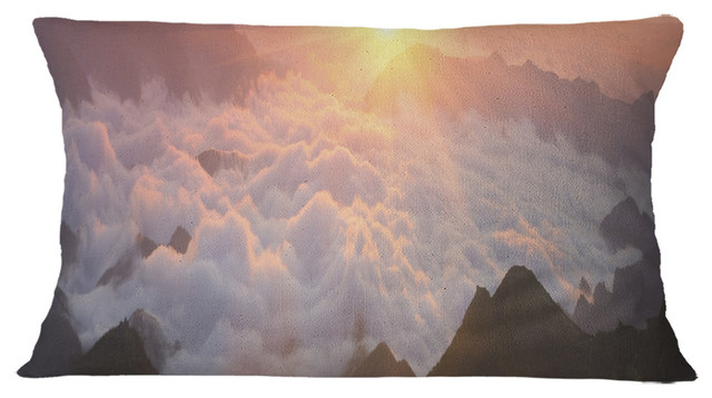 Sunlight Over Heavy Fog Panorama Contemporary Landscape Throw Pillow Contemporary Decorative Pillows By Design Art Usa