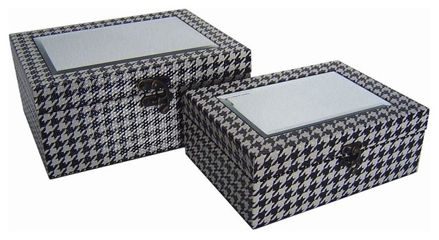 Black And White Decorative Boxes Best 2Piece Treasure Boxes With Mirror Black And White  Decorative Review