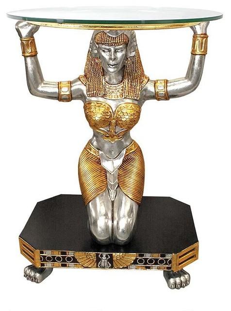 Ancient Egyptian Goddess Statue Sculpture Glass Console