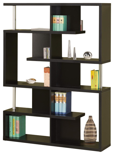 Modern White Black Finish Bookcase W Compartments Chrome