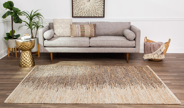 Leather Brown and Ivory Ombre Area Rug, 8'x10'