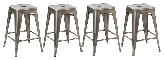 Hart Metal Counter Stools, Set of 4, Clear Brushed, 24""