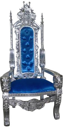 Royal King And Queen Gothic Throne Chair, Blue Armchairs And Accent Chairs