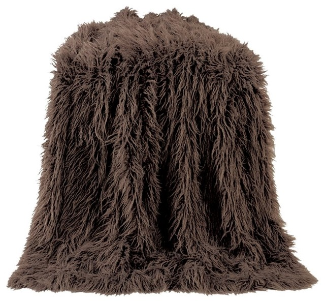 Mangolian Faux Fur Throw, 50x60 Chocolate.