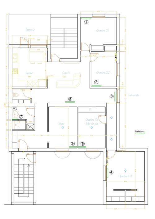 emplacements des radiateurs. Black Bedroom Furniture Sets. Home Design Ideas