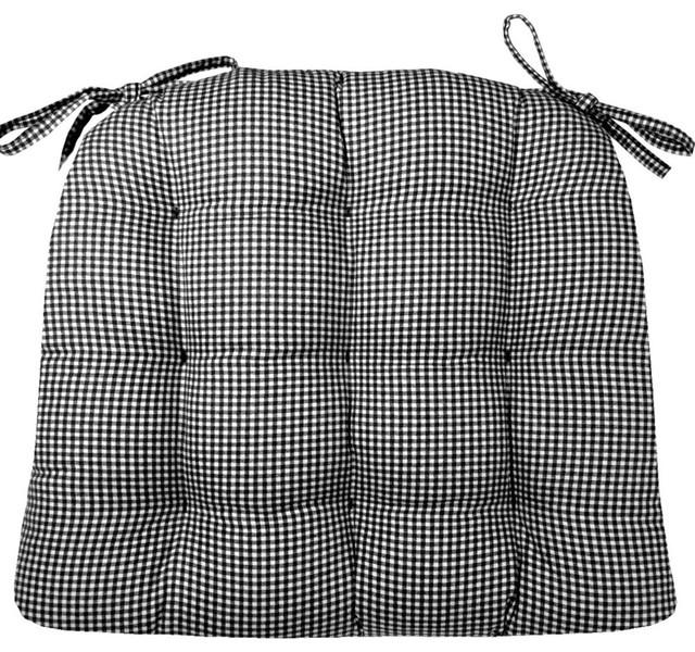 Madrid Black Gingham Chair Pad With Latex Foam Fill, Standard.