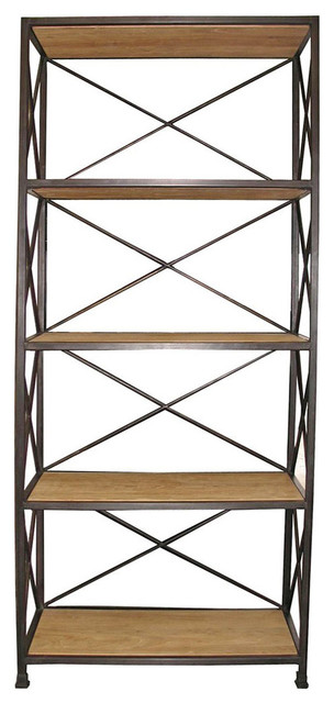 Stockport Metal Wood Industrial Rustic Open Bookcase.