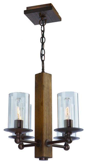 Legno Rustico 4-Light Brunito Chandelier