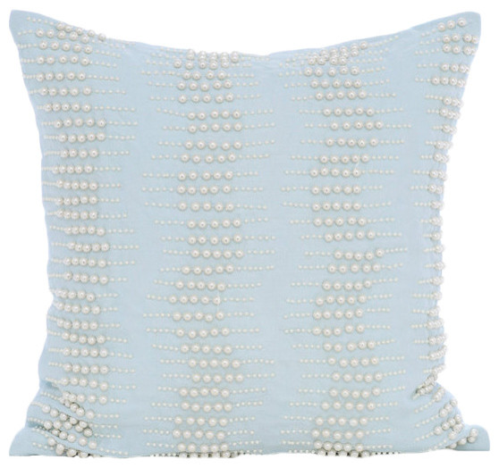 "Blue Mother Of Pearls Boudoir 20""x20"" Cotton Linen Throw Pillows Cover, Arctica."