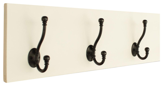"Coat Rack With 5"" Double Hooks, Black, Smooth, 3 Hooks"