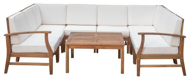 GDF Studio Scarlett Outdoor 6-Seat Teak Sofa and Table Set, Cream