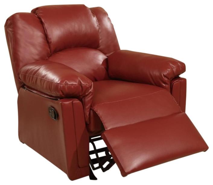 Amazing Bonded Leather Rocker Recliner Red Inzonedesignstudio Interior Chair Design Inzonedesignstudiocom