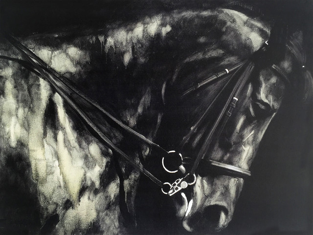 Wall Decor Painting Horse In The Dark Ii.