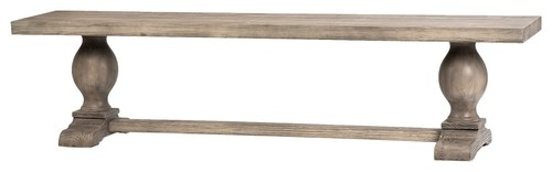 68 Long Anna Maria Bench Solid Wood Light Antique Finish Trestle Base