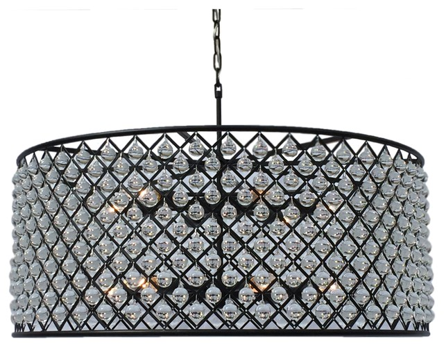 Ciel Round Drum Crystal Chandelier Extra Large Black