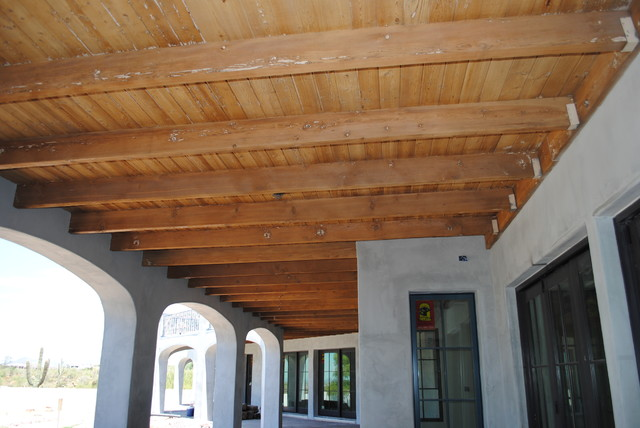 Exposed ceiling with rustic beams traditional phoenix for Exposed wood beam ceiling
