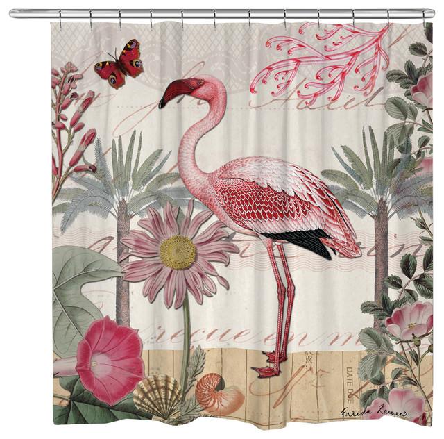 Curtains Ideas botanical shower curtain : Shop Houzz   Laural Home Botanical Flamingo Shower Curtain ...