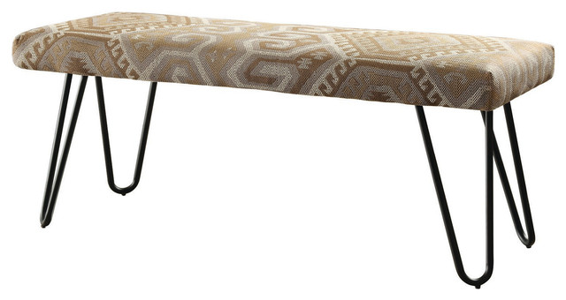 Midcentury Modern Fabric Upholstered Bench With Black Metal Legs, Desert Sand Wo.