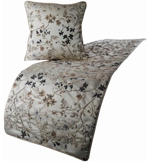 Ivory California King Bed Runner, Pillow Cover, Silk Bed Scarf, Ivory Garden