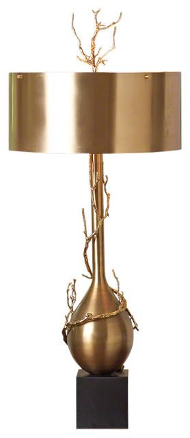 Global Views Twig Bulb Lamp, Brass.