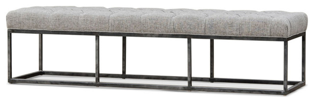 Bordeaux Industrial Antique Iron Upholstered Bench 72""