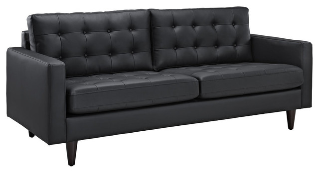 Modway Empress Leather Sofa Eei-1010-Blk.