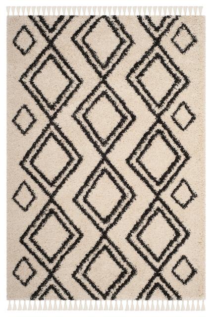 Safavieh Moroccan Fringe Shag, Cream/Charcoal   Scandinavian   Area Rugs    By Safavieh