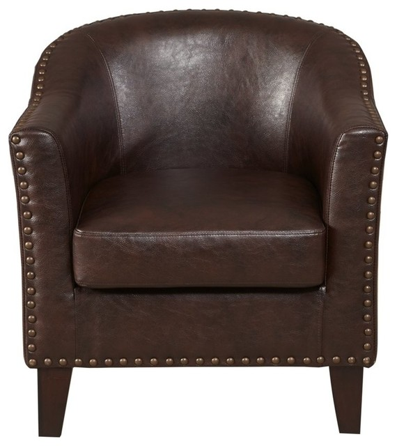 Superb Brown Faux Leather Barrel Accent Chair Ocoug Best Dining Table And Chair Ideas Images Ocougorg