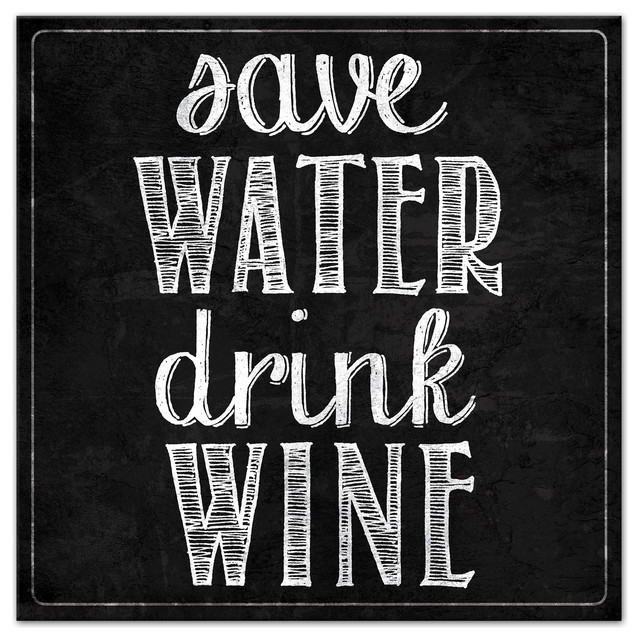 Save Water Drink Wine Canvas Wall Art ...  sc 1 st  Houzz & Save Water Drink Wine Canvas Wall Art - Contemporary - Prints And ...