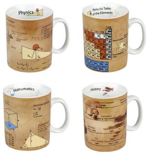 Assorted Mugs Of Physics Mathematics Chemistry And