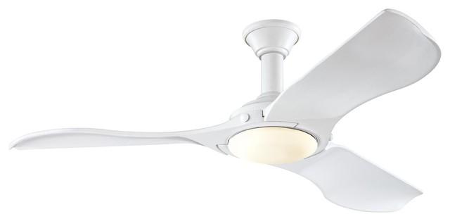"""Monte Carlo 56"""" Minimalist Matte White Ceiling Fan."""